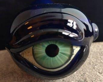 Cobalt Glass Eye Pipe