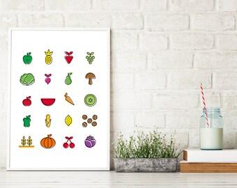 Fruits & Vegetables Print, Food Illustration, Kitchen Decor, Scandinavian Poster, Large Printable, Color Minimal Wall Art, Digital Download