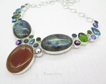 Blue Fire Labradorite Agate Peridot Blue Topaz Sterling Silver Necklace