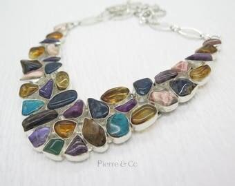 Sugilite Chrysocolla Rhodochrosite Citrine Sterling Silver Necklace