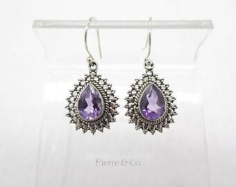 11 Carats Elegant Teardrop Amethyst Sterling Silver Earrings