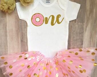 Donut First Birthday Onesie®, Donut First Birthday Outfit, First Birthday Outfit, Baby Girl First Birthday, Donut, Coffee, and Latte Onesie®
