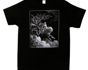 The Vision Of Death - Screen Printed T Shirt - Gustave Dore - Death Rides A Pale Horse