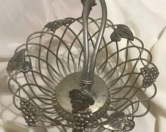 Vintage Godinger Silver Plated Basket Weave Design with Grapes and Leaves