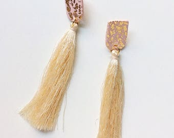 The Genevieve Earring // Blush & Gold Leaf Tassel Polymer clay earring, statement earring, dangly tassel earrings