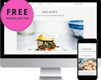 Premade Blogger Template - Responsive Blogger Template - Modern Blogger Template - Feminine Template - Slideshow - Blog Design - Delight