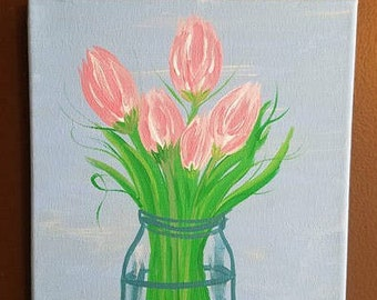 Pink Flowers Canvas