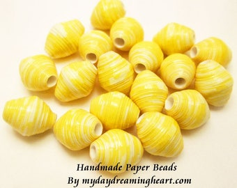 19 Handmade Loose Paper Beads Daffodil Yellow White Bicone Lot Jewelry Necklace Bracelet Earrings Crafts Macrame Supplies Made In Maine