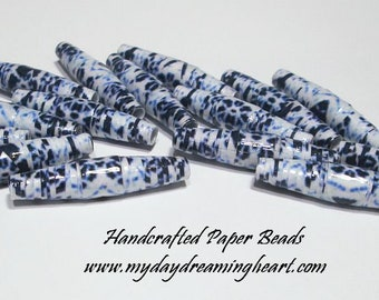 15 Loose Paper Beads Lot Blue White Damask Marquise Boho Handmade Jewelry Craft Macrame Supplies Made In America My Daydreaming Heart Blog