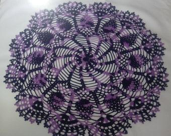 READY TO SHIP Large purple doily 18 inches-crochet doilies-dark purple doily-violet doily-Melange doilies-Handmade tablecloth-napkin