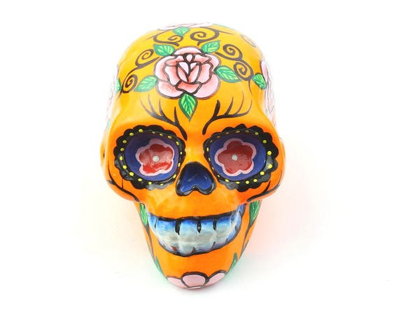Orange Sugar Skull Decor, Hand Painted Skull, Mexican Sugar Skull, Home Decor, Day of the Dead, Decorative Skull