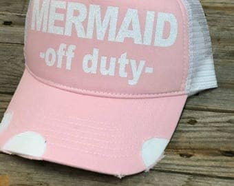 Mermaid Off Duty - Distressed Glitter Hat