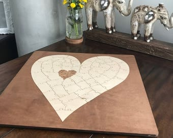 Heart Puzzle (w/Border) / Wedding Guest Book / Guest Book alternative / Guestbook /  Established Decor / Wall Art (All Sizes)