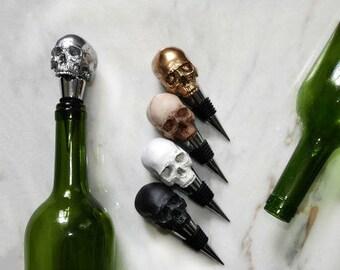 Skull Wine Bottle Stopper, Black