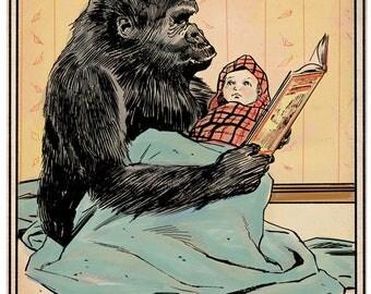 Gorilla and baby print