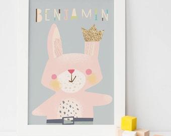 Personalized baby print /bunny rabbit nursery wall art print / unframed art print / twinkies/ crown prince/ baby boy nursery