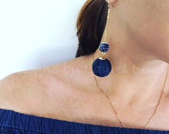 SALE | NAVY Chinoiserie Earrings | dangle, drop, lightweight, blue and white, gold, dainty