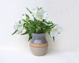 Ceramic Vase handmade and hand decorated from dark stoneware clay, beige brown & white flower holder for modern home decor or birthday gift