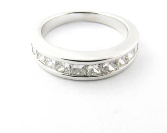 Vintage 14 Karat White Gold Princess Cut Diamond Wedding Band Size 6 #2516