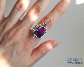 druzy ring, one of a kind drusy ring, silver ring, purple sparkling ring, fantasy ring