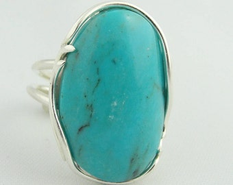 Natural Oval Turquoise Adjustable Ring- Sterling Silver