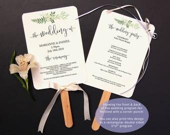 Printable Greenery Wedding Program Template, Greenery Wedding Fan Program, Rustic Greenery Wedding Program, Garden Wedding Ceremony Template