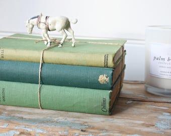 Bundle of Green Vintage Hardcover Books Rustic Display Decor