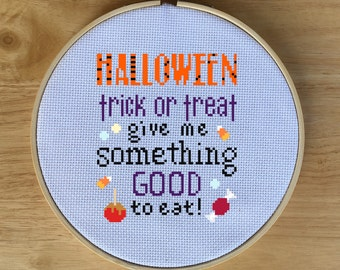 Halloween Sampler Cross Stitch PDF, Counted Cross-Stitch Pattern - Candy, Trick or Treat, Cute, Song Quote, Give Me Something Good to Eat!