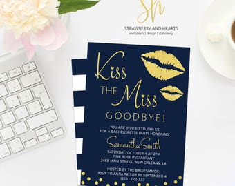 Bachelorette Invite, Kiss The Miss Goodbye, Navy Blue and Gold, Gold Confetti, Gold Lips, Gold Kiss, Bachelorette Party, Print At Home, SH59