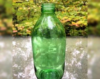 Vintage Green Glass Bottle/Green Glass Soda Bottle/Vintage Soda Bottle