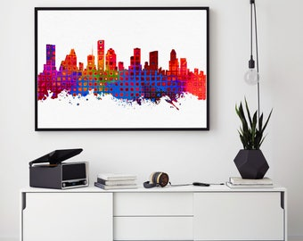 Houston Skyline, Houston Print, Skylines Print, Houston City Wall Art Decor, Home Decor, Abstract Art, Watercolor Houston (N145)