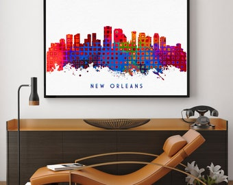 New Orleans Skyline Art, New Orleans Skyline Painting, New Orleans Wall Art, New Orleans Home Decor, Watercolor New Orleans (N155)