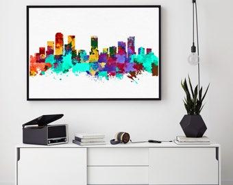 Denver Skyline Print, Denver Painting, Denver Art, Denver Wall Decor, Watercolor Denver, Colorado Art, Denver Bedroom Decor (N179)