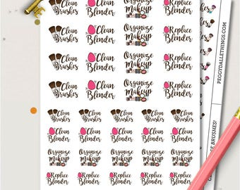 Clean Brushes Planner Stickers | Make Up Stickers | Beauty Blender stickers | Chores stickers