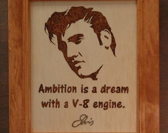 Elvis! Wood burned portrait and quote