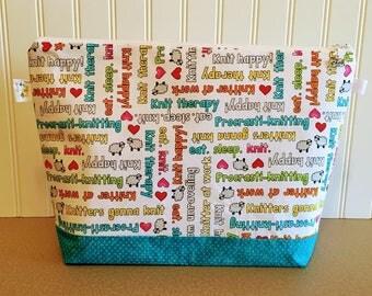 Knitting Project Bag Sweater, Gift for knitter, Knitting Tote, Zipper Project Bag, Knitting Bag, Crochet Bag, Knitting Needle Case