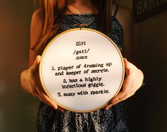Girl Funny Dictionary Definition Home Decor Children's Bedroom Gift Embroidery Hoop