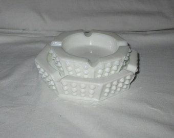 Vintage Fenton Octagon Hobnail Milk Glass Ashtrays