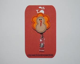 Felt Turkey Retractable Badge Reel, Turkey Retractable Badge Reel, Thanksgiving Badge Holder