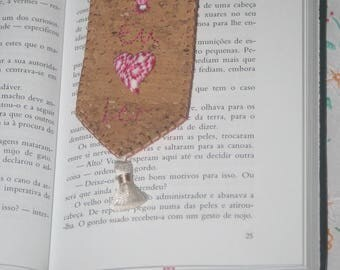 Cork and felt embroidered bookmark