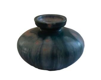 Antique French Revernay Stoneware Vase - Blue and Green Glaze Pottery Vase - French Home Decor - Modern Ovoid Vase