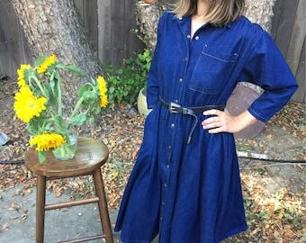 Vintage Denim Dress // Made in USA // 100% Cotton // Denim Midi Dress // Dark Wash Denim // Small-Medium