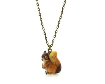 Tiny Squirrel Charm Necklace, Hand Sculpted/Painted Figurine, Ceramic Animal Pendant & Chain ()