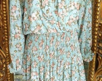 Vintage 1980's Leslie Fay Petite Collection 30's Style Floral Dress Size 12