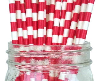 Red Rugby Striped Paper Straws, Party Supplies, Party Decor, Bar Cart Cake Pop Sticks, Party Graduation