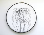 """Embroidery art """"Motion"""" / Embroidery hoop art / Gay art"""