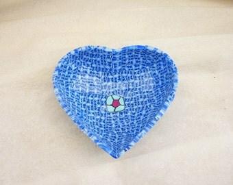heart handmade bowl, cup, polymer clay, unic piece , light blue
