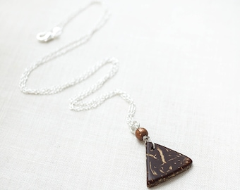 Coffee Gift Essential Oil Diffuser Necklace Coconut Triangle Charm Gardening Gift Aromatherapy Necklace Essential Oil Necklace 925 Silver