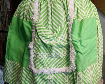 Crazy Green & White Striped Half Apron Fuzzy Trim Pockets Hostess Apron