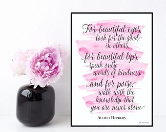Audrey Hepburn quote, For beautiful eyes quote, Celebrity quote, Inspirational wall art, Poster quote Audrey Hepburn, Inspirational quote